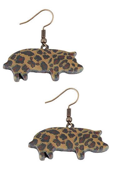 Leopard Print Pig Earrings