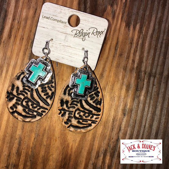 Blazin Roxx Genuine Leather  Earrings with Turquoise Cross