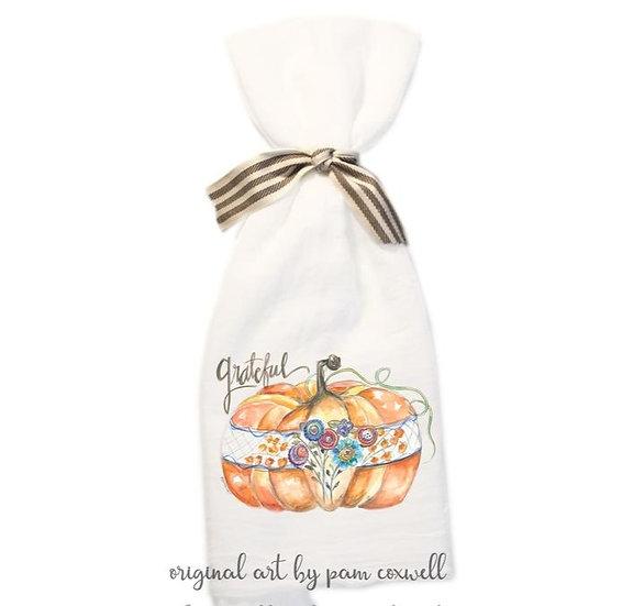 From The Heart Art Fall-Grateful Pattern Pumpkin Flour Sack Towel & 4x4 Tile
