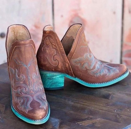 Brown Western Bootie with Turquoise Sole and Heel