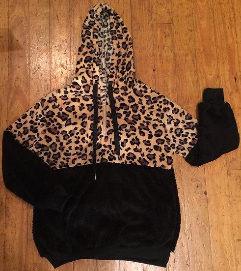 Sherpa Leopard Hoodie Women's