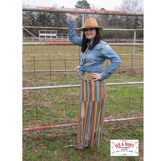 Serape Long Fringe Western Skirt