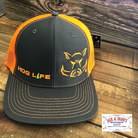 OUTDOOR CREW Hog Life Wild Orange Mesh Back Snap Closure