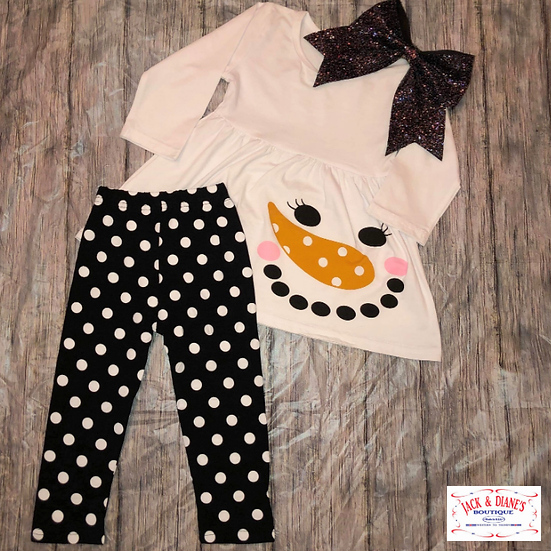 Girl Snowman 2 piece Holiday Outfit