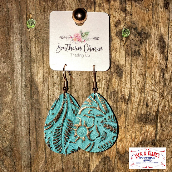 """Three different styles of 1.5"""" Itty Bitties Leather Earrings"""