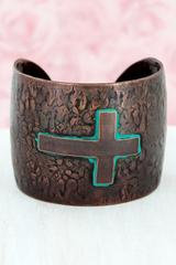 Worn Coppertone and Patina Cross Cuff Bracelet