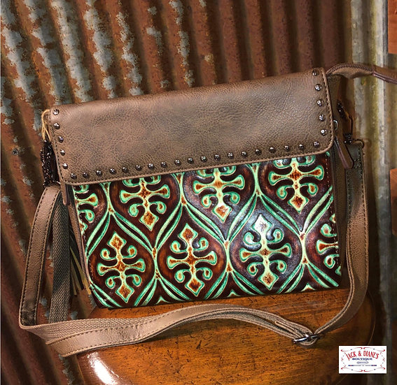 Angel Ranch Brown & Turquoise Embossed Leather Concealed Handgun Purse
