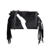 Montana West Hair-On Cowhide Leather Fringe Clutch/Crossbody