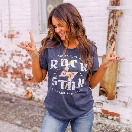 Mama Like a Rock Star Heather Navy Tee