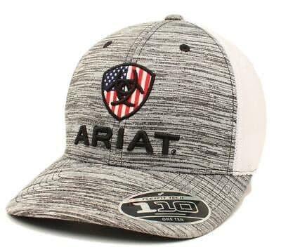 Ariat USA 110 Flexfit Tech Trucker Hat - White/Grey