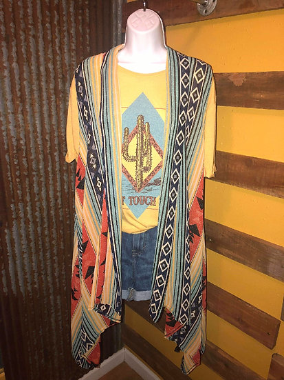 Red, Mint & Blue Aztec Vest