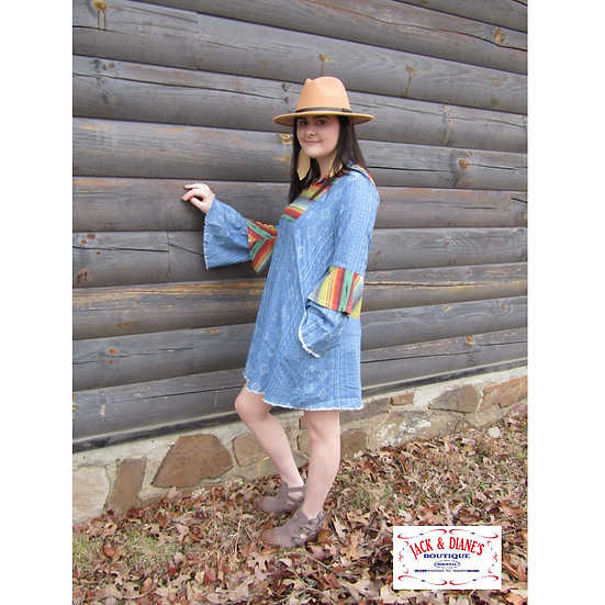 Serape Bell Sleeve Western Dress