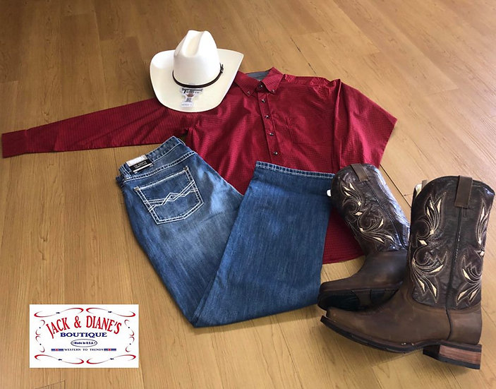 Panhandle Red Long Sleeve Button Down Shirt