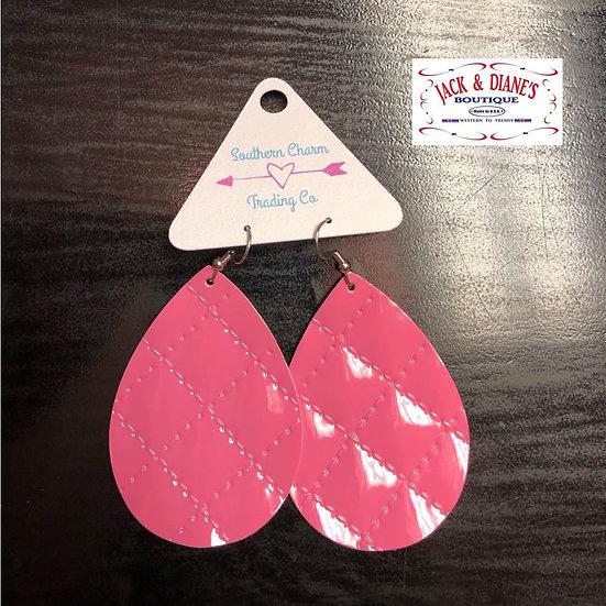 Pink Quilted Teardrop Earrings