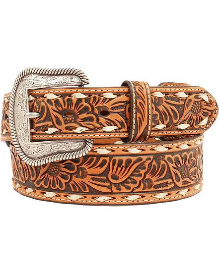 Nocona Men's Buck Lace Floral Embossed Belt