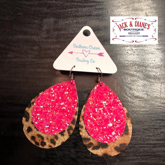 Hot Pink Glitter and Leopard Layered Earrings