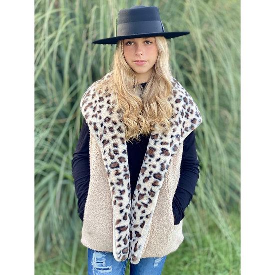C.C Reversible Leopard Print Sherpa Faux Fur Vest