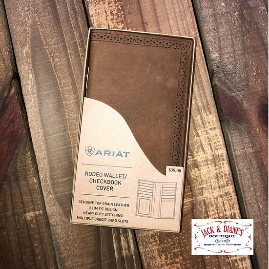 Ariat Brown Rodeo Leather Wallet with Detailed Edging