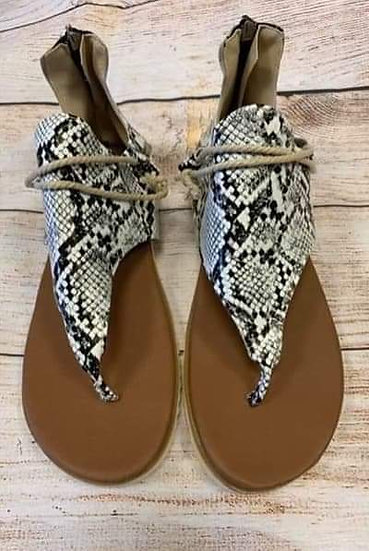 Women's Snake Print Flat Sandals