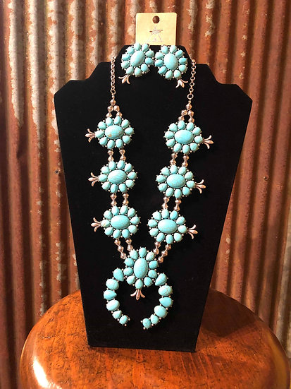 WESTERN SQUASH BLOSSOM TURQUOISE CHUNKY NECKLACE WITH EARRING SET