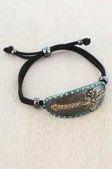 Hematite and Worn Goldtone Decorative Cross Oval Disk Cord Bracelet