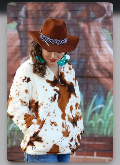 Darby Cow Print Faux Fur Pullover