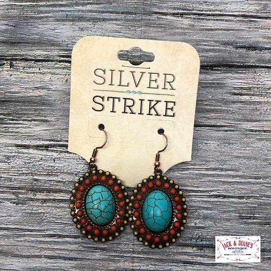 Antique Copper Oval Shaped Earrings