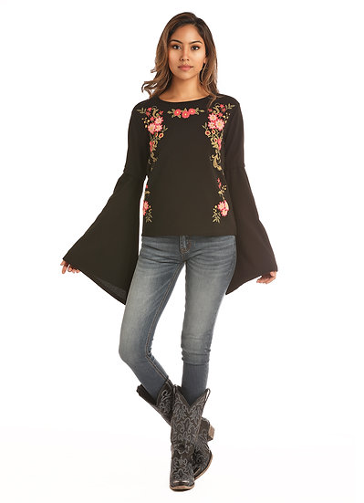 ROCK & ROLL JUNIORS BELL SLEEVE TOP WITH FLORAL EMBROIDERED PUFF PRINT