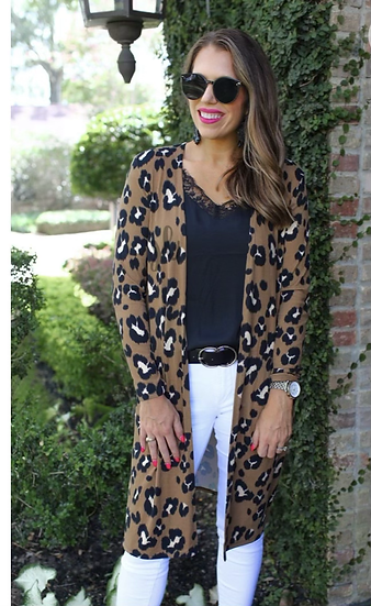 Taupe Leopard Print Duster