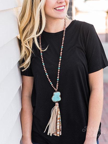 La Vie Boheme Tassel Necklace with Turquoise Pendant