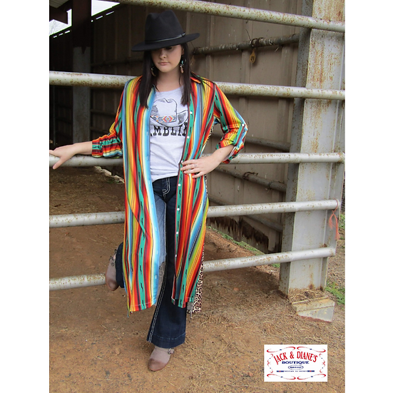 Western Style Serape and Leopard Long Sleeve Button Up Duster
