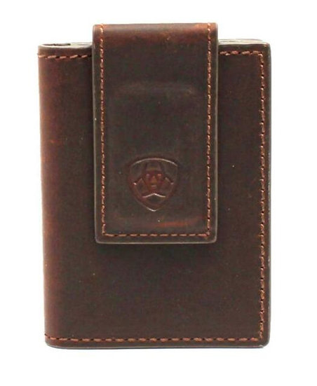 Ariat Western Men's Money Clip Bifold Leather Shield Logo