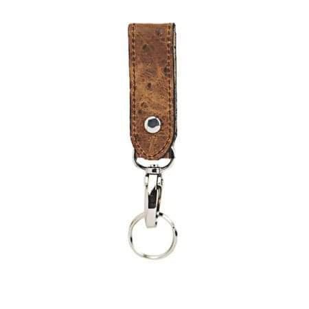 Rustic Cognac Ostrich Key Ring