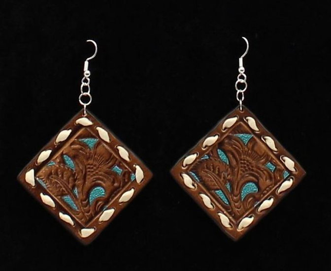 Blazin Roxx Turquoise Underlay Leather Earrings