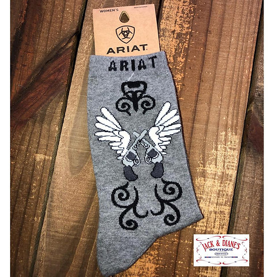 Ariat Women's Grey Socks with Pistols and Wings
