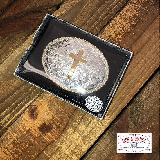 Crumrine Silver Belt Buckle with Gold Cross and Gold Rope Edges