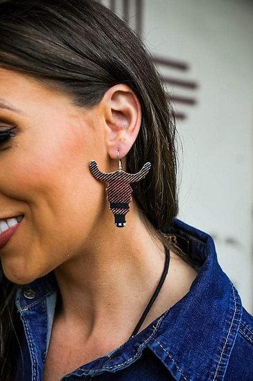 L&B Black Serape Cow skull Drop Earring