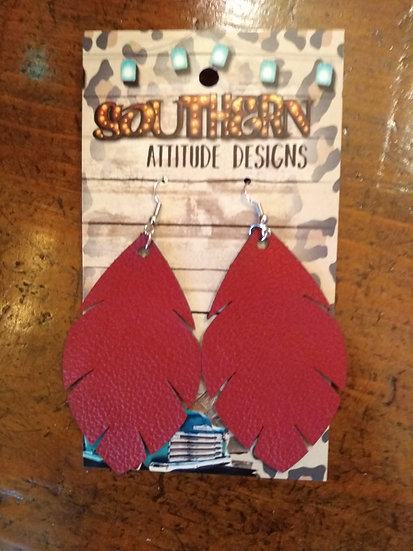 Women's Red Feather Leather Earrings