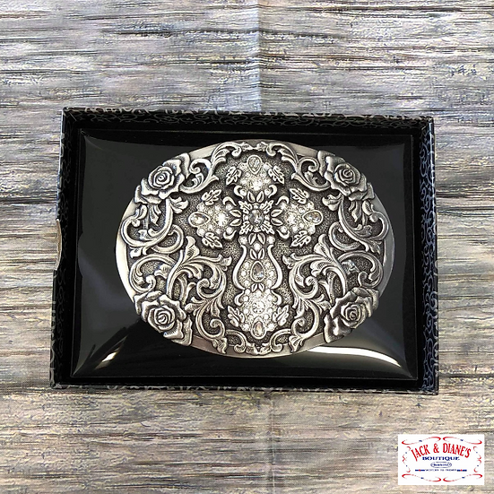 Nocona Antiqued Silver Cross & Rose Filigree with Rhinestones Oval Buckle