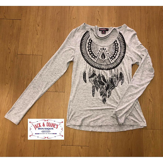 Panhandle Women's Grey and Black Long Sleeve with Black Feathers and Detail Stra