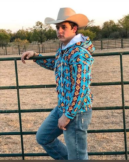 Men's Turquoise Aztec Pullover Hoodie