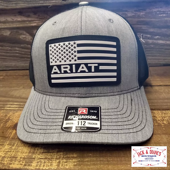 Ariat Grey American Flag Trucker Cap