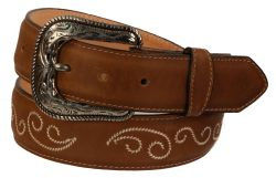 B30 - RockinLeather Crazy Tan Cowhide Leather Belt W/ Scroll