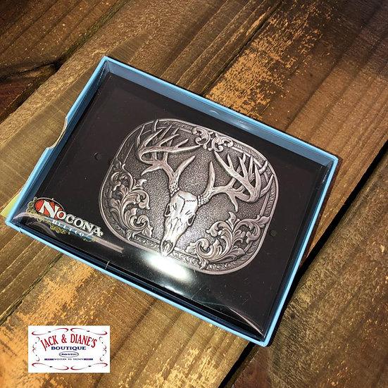 Nocona Deer Head Belt Buckle Silver