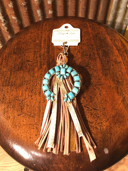 Turquoise Pendant Squash Blossom and Leather Brown and Tan Straps KeyChain