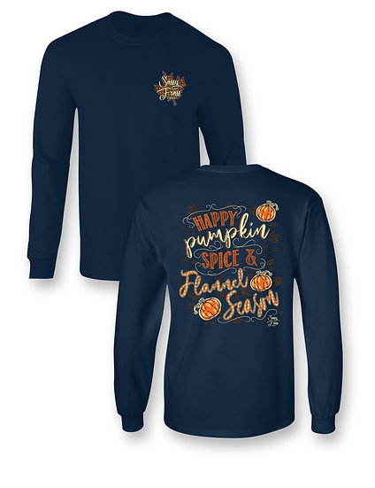 "Sassy Frass ""PUMPKIN SPICE & FLANNEL"" COMFORT COLORS LONG SLEEVE TEE"