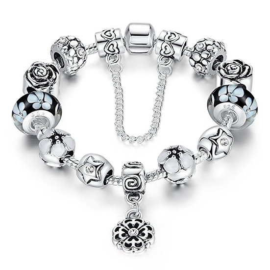 Presentski Charm Bangle Bracelet Silver Plated with Colorful Cubic Zirconia