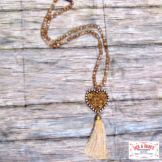 Rose Gold Beaded Long Necklace with Heart and Tassel