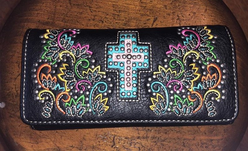 Montana West Black and Turquoise with white Spiritual Collection Wallet