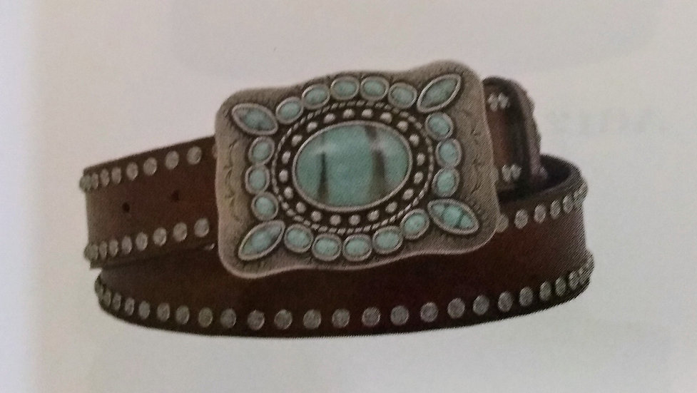 Angel Ranch Ladies Turquoise Stone Buckle and Turquoise Studs Brown Leather Belt